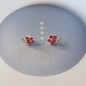 Estate 14K Natural Ruby Stud Earrings 0.90 Ct
